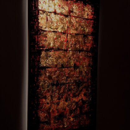 Vörös Odüsszeia - 140x75 cm, olaj és arany vásznon