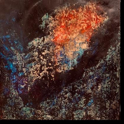 Eredet - 70x70 cm, olaj arany vásznon