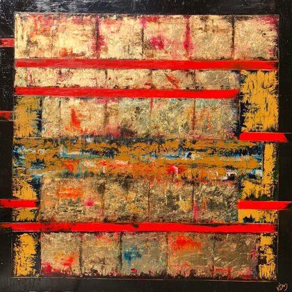 Bábel - 100x100 cm, olaj és arany vásznon