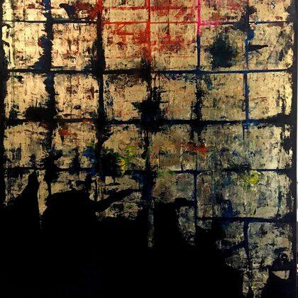 Freskó - 150x100 cm, olaj és arany vásznon