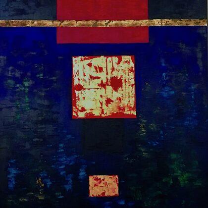 Ókút - 120x100 cm, olaj és arany vásznon