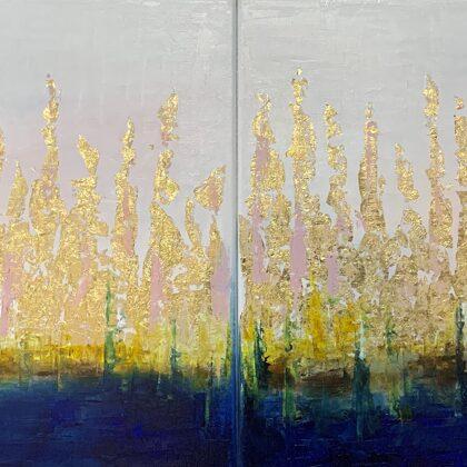 """""""Aki a mélységet látta""""-""""Sa naqba imuru""""  -  diptichon, 2x40x40 cm, olaj és arany vásznon"""