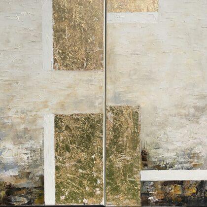 Zikkuratu - diptichon, 2x60x60 cm, olaj és arany vásznon