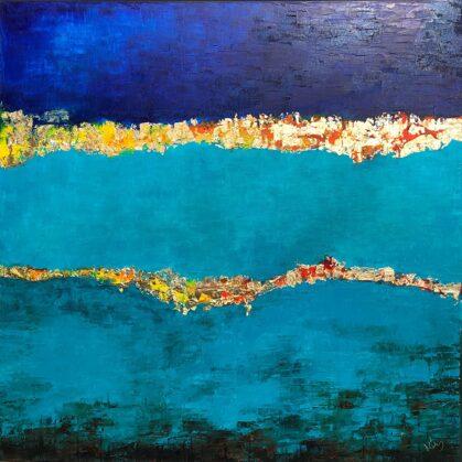 Sarrukín birodalma - 100x100 cm, olaj és arany vásznon