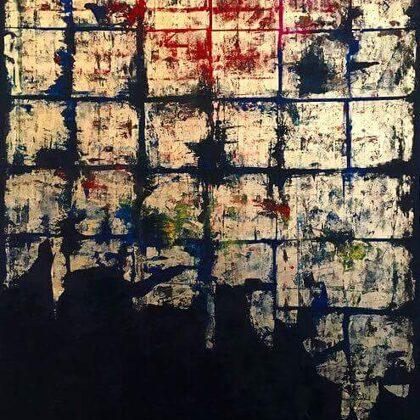 Freskó - 150x100 cm, olaj arany vásznon