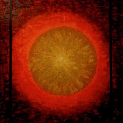 Pajzs - 100x100 cm, olaj vásznon