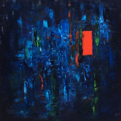 A csend - 100x100 cm, olaj vásznon