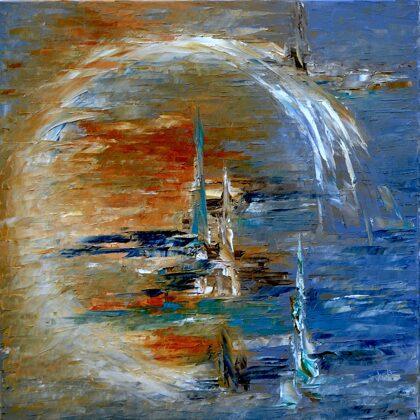 Körforgás - 70x70 cm, olaj vásznon