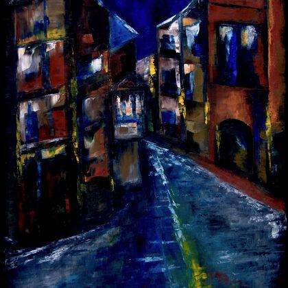 Éjszaka Velencében - 85x70 cm, olaj vásznon