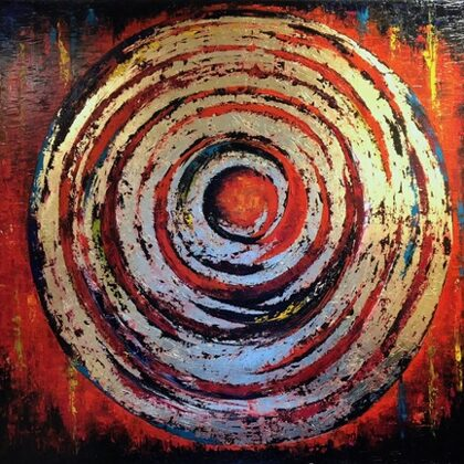 Instant Karma - 150x250 cm, oil gold canvas