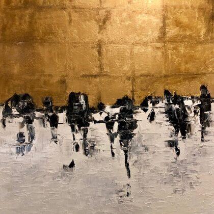 Swallows - 120x100 cm, oil gold canvas