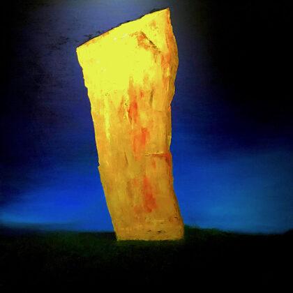 Stone sword - 120x120 cm, oil gold canvas