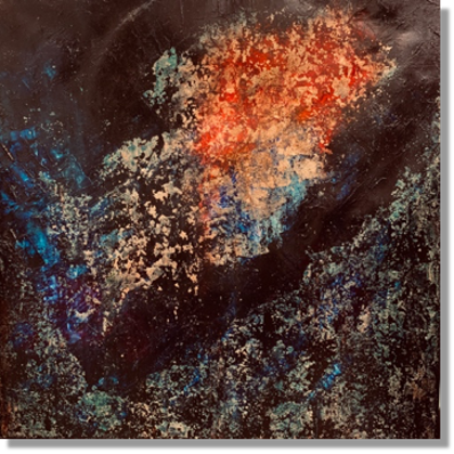 Origin - 70x70 cm, oil gold canvas