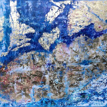 Fjord - 95x145 cm, oil gold canvas