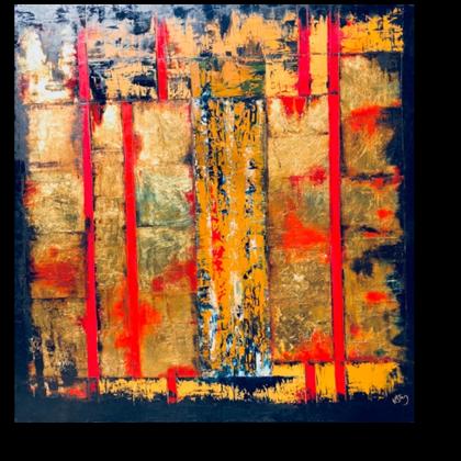 Zikkurat - 107x107 cm, oil gold canvas