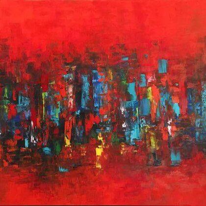 Shout, city! - 100x150 cm, oil canvas