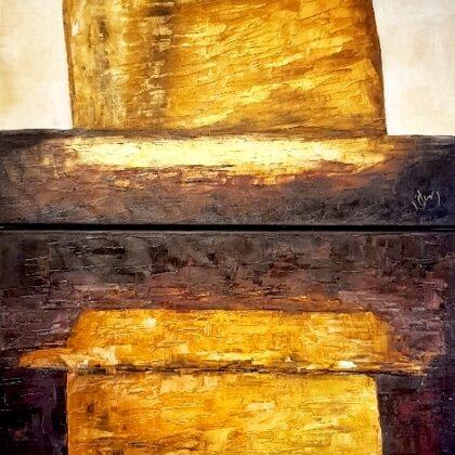 Golden sails (diptichon) - 2x60x60 cm, oil gold canvas