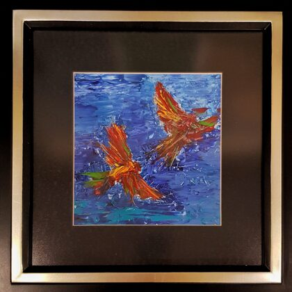 Phoenix birds-study - 20x20 cm, oil paper