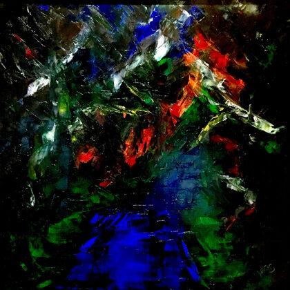 Erdei út - 80x80 cm, olaj vásznon