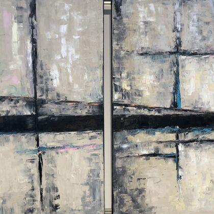 Rejtett járat - diptichon 2x100x100 cm, olaj vásznon