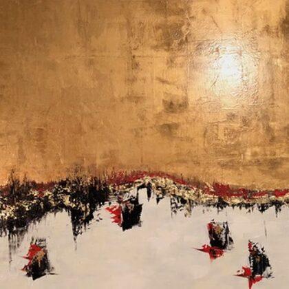 Párducok az Ita-tónál - 80x150 cm, olaj és arany vásznon