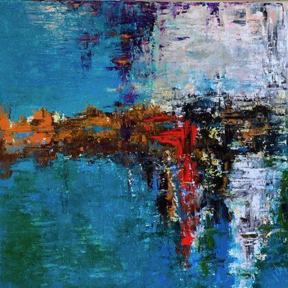 Bíbor eső - 70x70 cm, olaj és arany vásznon
