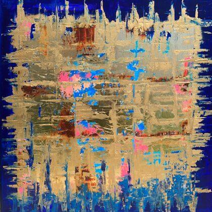 Blue-Matrix - 60x60 cm, olaj és arany vásznon