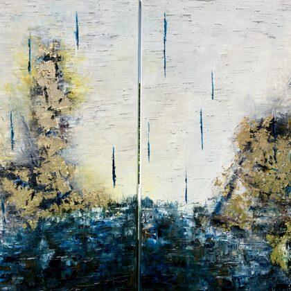 Ezékiel látomása - diptichon (Ószövetség ciklus), 2x80x60 cm, olaj és arany vásznon