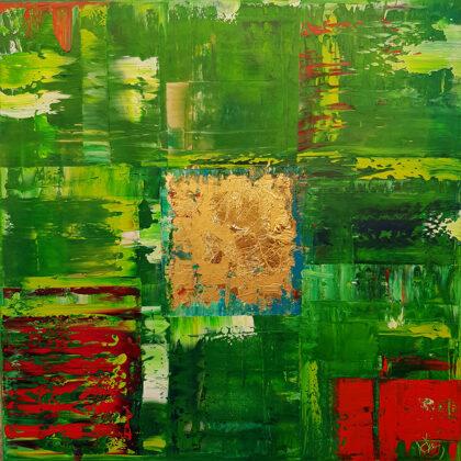 Nyári mező - 50x50 cm, olaj és arany vásznon