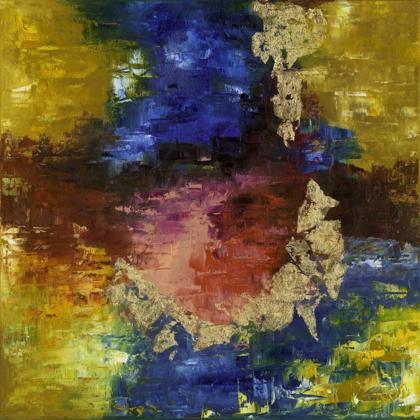 Termékeny félhold tanulmány - 50x50 cm, olaj és arany vásznon
