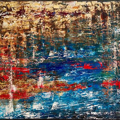 Tél - 50x60 cm, olaj és arany vásznon