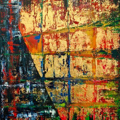 Másik dimenzió - 80x70 cm - olaj és arany vásznon