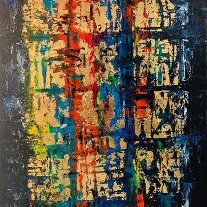 Ablak - 80x60 cm, olaj és arany vásznon