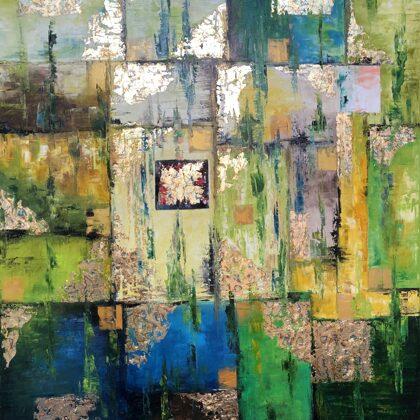 Szemiramisz kertje - 120x90 cm, olaj és arany vásznon