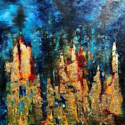 Bábel tornyai - 120x100 cm, olaj és arany vásznon