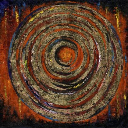 Instant karma - 150x250 cm, olaj és arany vásznon