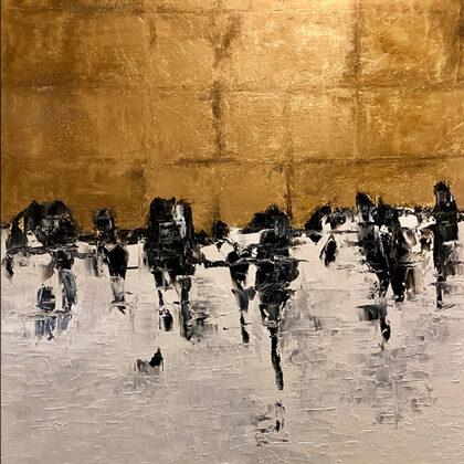 Fecskék - 120x100 cm, olaj és arany vásznon