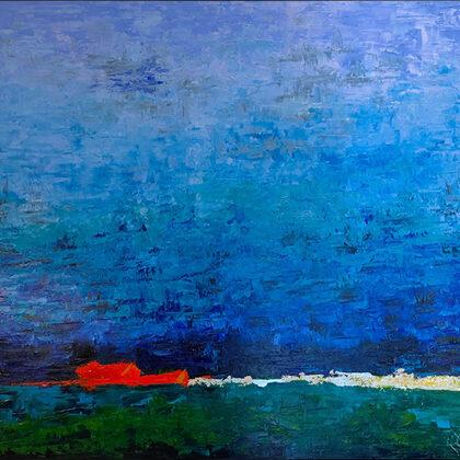 Új horizont - 100x100 cm, olaj vásznon