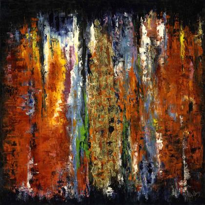 Zuhanás - 100x100 cm, olaj és arany vásznon