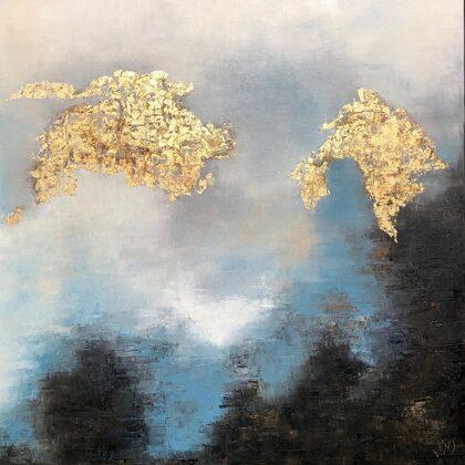 House of Sky and Earth- É-temen-anki  -  100x100 cm, oil gold canvas