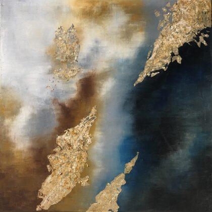Mesopotamia - 60x60 cm, oil gold canvas