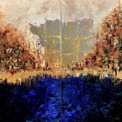 Gate of Istar - diptichon, 2x120x60 cm, oil gold canvas