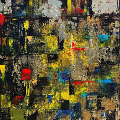 Walls of Ninive - 80x65 cm, oil gold canvas