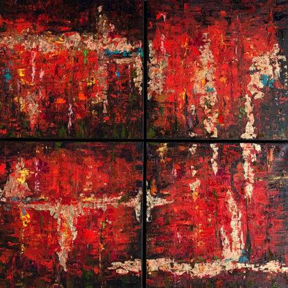 Flames of Agade - quadrichon, 4x50x50 cm, oil gold canvas