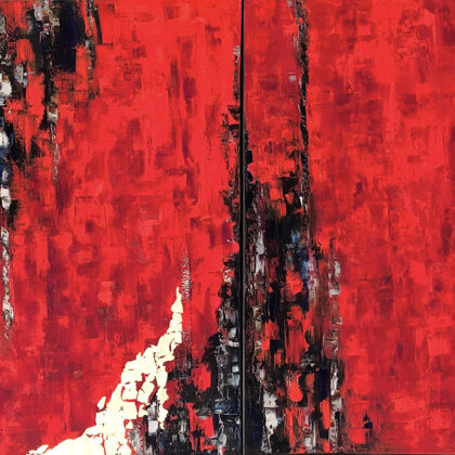 In the land of Akkad - quadrichon, 4x90x60 cm, oil gold canvas