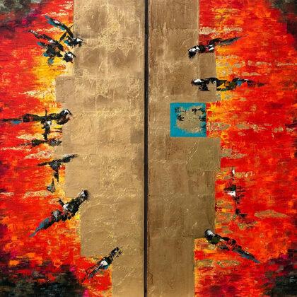 Shamash - God of the Sun - diptichon, 2x140x90 cm, oil gold canvas
