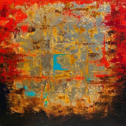 Nabucodonosor, 60x60 cm, oil gold canvas