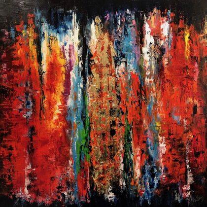Falling - 100x100 cm, oil gold canvas