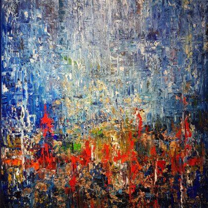 Rain - 80x60 cm, oil gold canvas