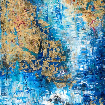 Glacier - 80x60 cm, oil gold canvas